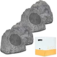 Theater Solutions 4R8G Outdoor Granite 8 Rock 4 Speaker Set with Wire for Yard Pool Spa Patio Garden