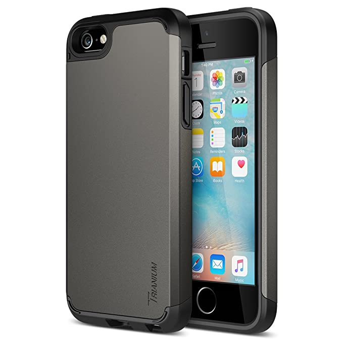 I Phone Se Case, Trianium [Protak Series] Ultra Protective Cases For Apple I Phone Se (2016) & I Phone 5 S 5 [Gunmetal Gray] Dual Layer + Shock Absorbing Hard Bumper Cover by Trianium