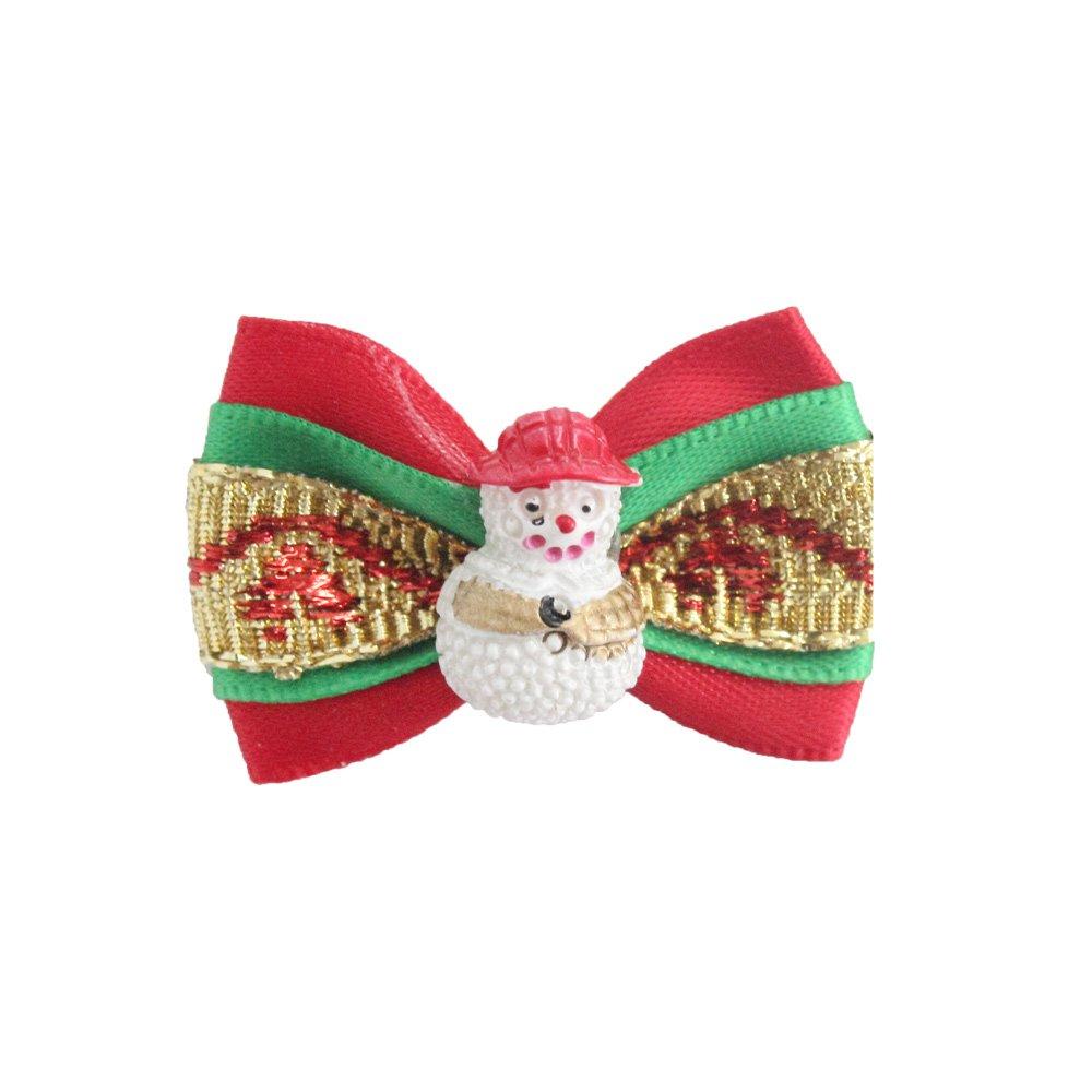 100PCs Oh  Snowman  Handmade Christmas Dog Bow Tie Merry Christmas Dress up Puppy Pet