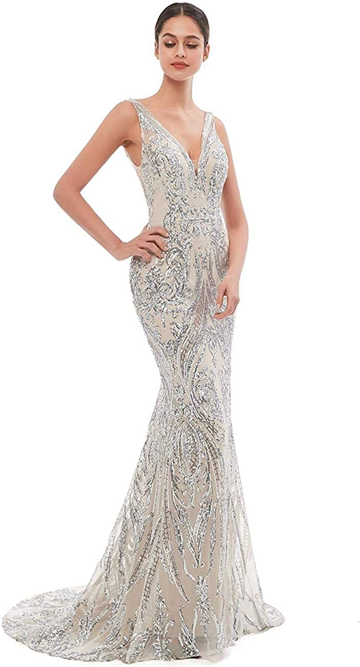 haixiangdress Women's Sequins Mermaid Prom Evening Party Dress Lace-Up Gown Silver