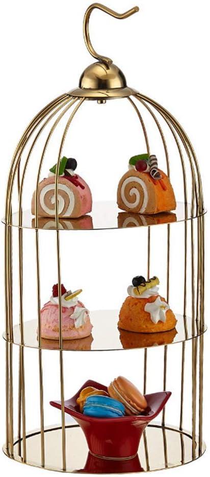 SEESEE.U Soporte para Pastel de Jaula de Metal de 3 Capas, Estante para Pasteles de té Creativo por la Tarde, Material de Acero Inoxidable: Adecuado para Matrimonio, cumpleaños, Fruta, Buffet
