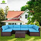Diensday 7 Piece All-Weather Cushioned Outdoor Patio PE Rattan Wicker Sofa Sectional Furniture Set Clearance Lawn Backyard Furniture,Blue Cushion,Mixed Brown Wicker