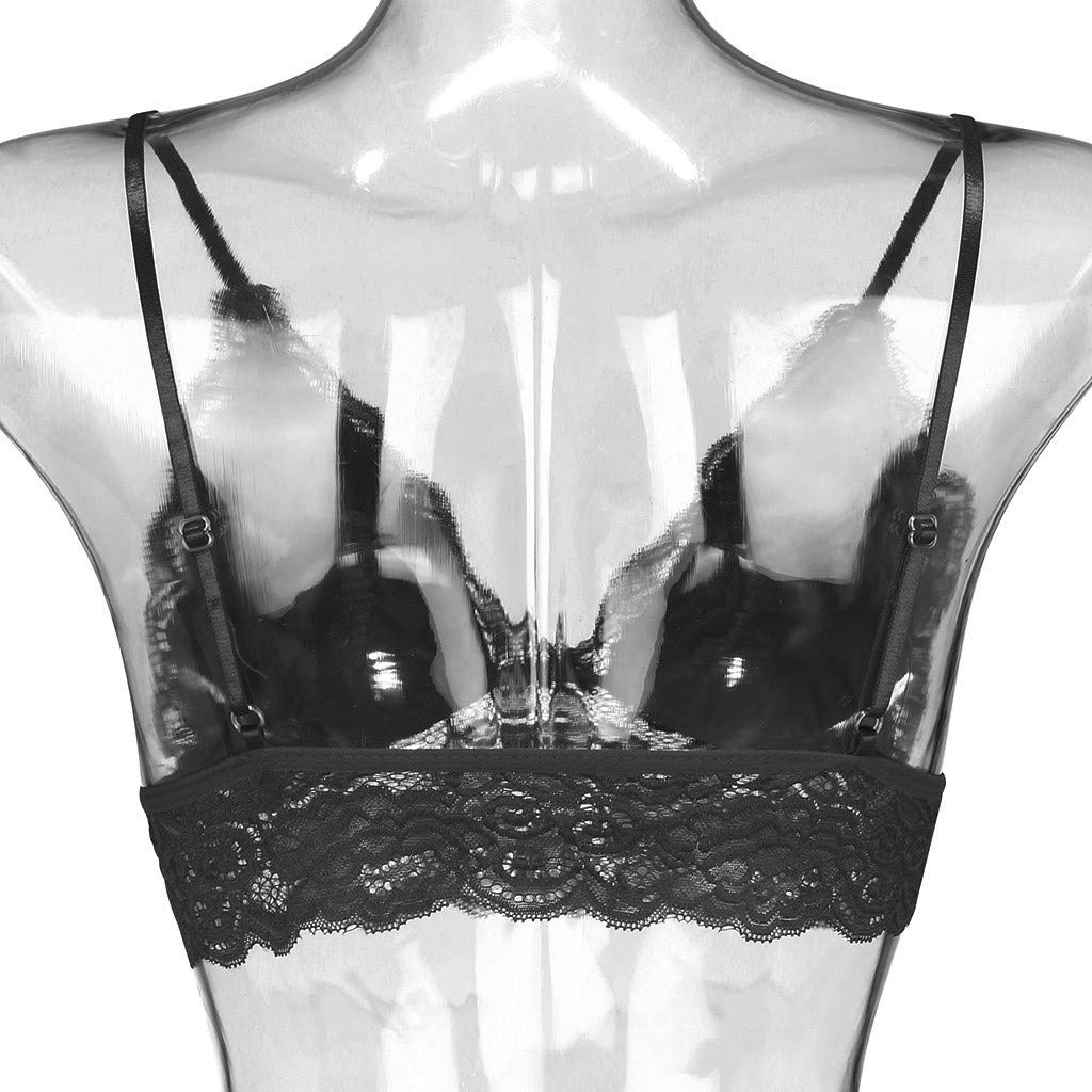 SuperXC Women\'s Sexy Lace Unlined Plus Size Bra Full Bust Sheer Unpadded Underwire Minimizer Bra Black