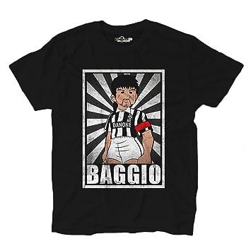 Camiseta Fútbol Camiseta Vintage Baggio bianconeri Legend parodia Holly e Benji, Black Opal