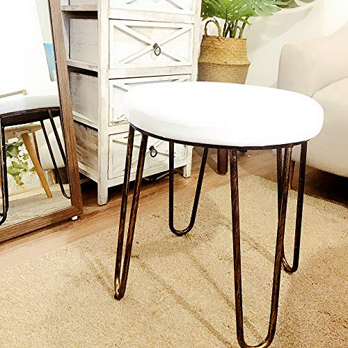 CANDIKO White & Bronze Round Makeup Vanity Chair Velvet Upholstered Metal Stool Bedroom Iron Room Bench Bathroom Ottoman