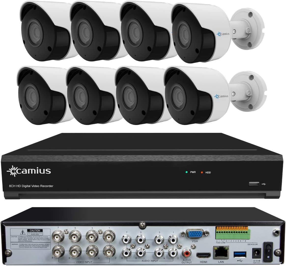 Camius 4K 12CH DVR NVR Security System with 8 Wired Analog Indoor-Outdoor 5MP Bullet Cameras – Wide 3.6mm, Color Night Vision – 5-in-1 XVR Works as 8CH DVR 4CH IP NVR – Without HDD