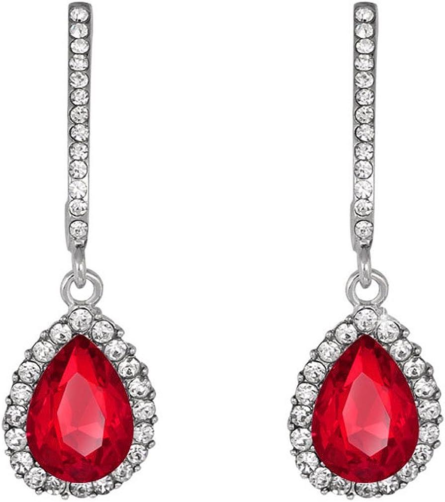 YAZILIND pera corte rubí gota pendientes diamantes de imitación topacio blanco lujosos espárragos elegantes