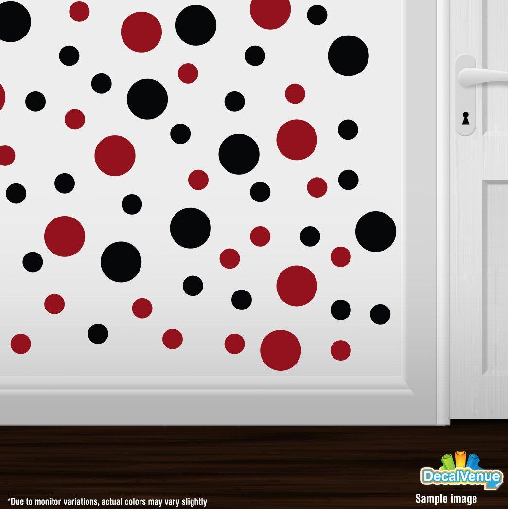 Set Of 30 Blackred Circles Polka Dots Vinyl Wall Graphic Decals
