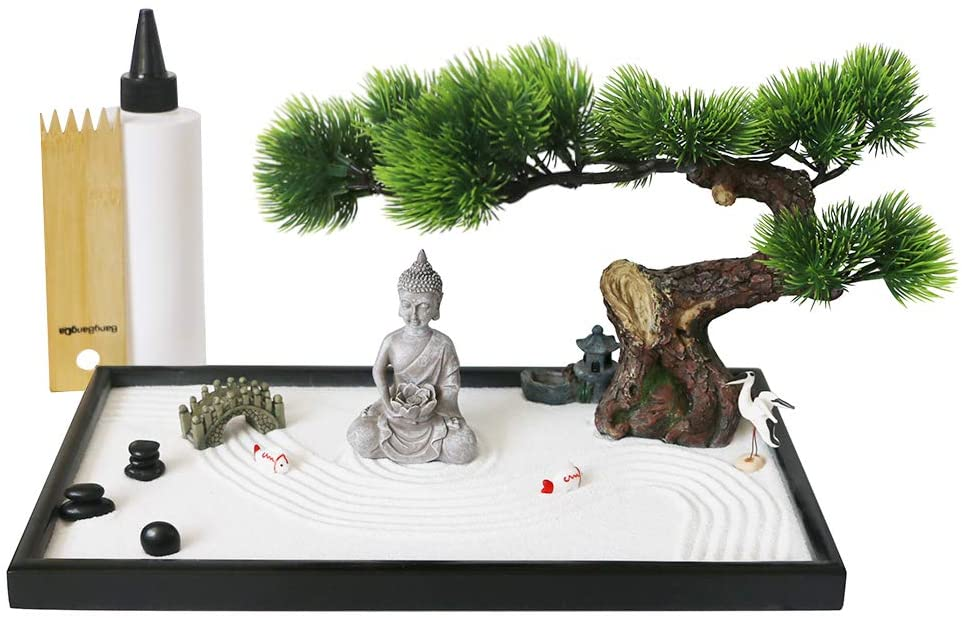 Amazon Com Japanese Tabletop Meditation Zen Garden Gift Tabletop Rock Sand Meditating Garden Bridge Bamboo Rakes Bonsai Tree Plant Pagoda Accessories Tools Kits Office Home Desktop Relaxation Sandbox Decor Toys Games