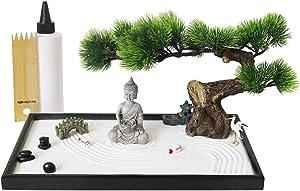 Japanese Tabletop Meditation Zen Garden Gift - Tabletop Rock Sand Meditating Garden Bridge Bamboo Rakes Bonsai Tree Plant Pagoda Accessories Tools Kits Office Home Desktop Relaxation Sandbox Decor