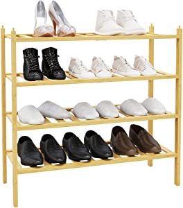 BAMFOX 4 Tier Shoe Rack,Bamboo Stackable Shoe Storage Organizer Unit Entryway Shelf in Natural Color,2 Pack 2-Tier