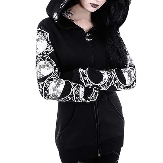 Nlife Frauen Print Gothic Punk Langarm Hoodies Plus Gr/ö/ße S-5XL