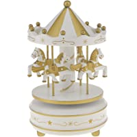 MagiDeal Musical Carousel Rotary Horse Toy Box Boy White And Gold