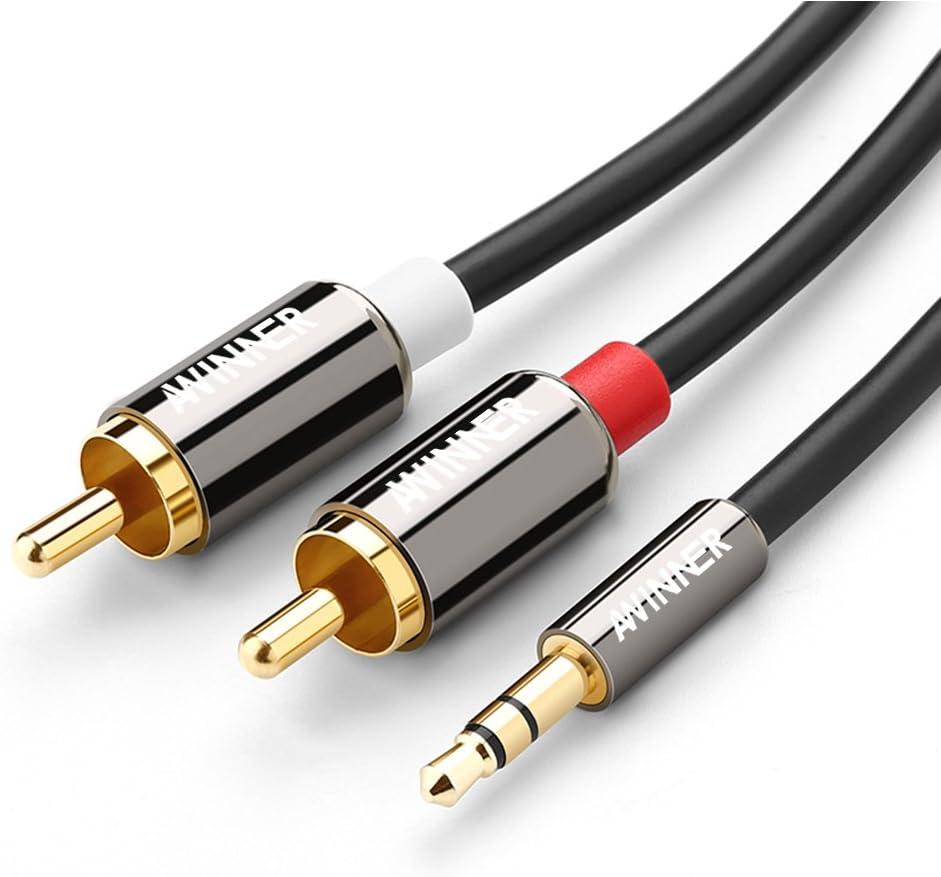 Awinner Cable RCA, blindado doble, chapado en oro, con conector ...