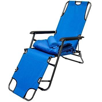 Tumbona Plegable | Cómoda Silla de Playa con Acolchada Amovible 178 cm + Reposacabezas + Reposapiernas + Respaldo Reclinable | Azul