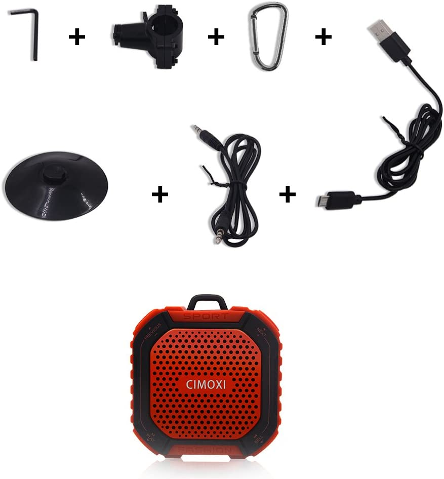 CIMOXI Portable Wireless Bluetooth Outdoor and Shower Speaker Y1 Built-in Mic and 8 Hours Playtime-Red X1-RD IPX4 Waterproof 5W Output with Suction Cup