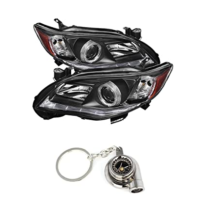 Toyota Corolla Projector Headlights Halogen Model Only DRL LED Black Housing With Clear Lens + Free