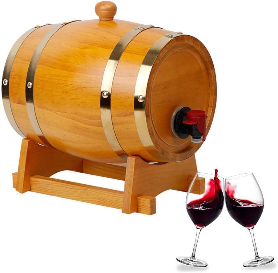 QYWJ Barril de Madera de Roble, Barril para almacenar su Propio Whisky, Cerveza, Vino, borbón, Brandy, Salsa Picante y más, con Grifo Soporte para Vino (5L)