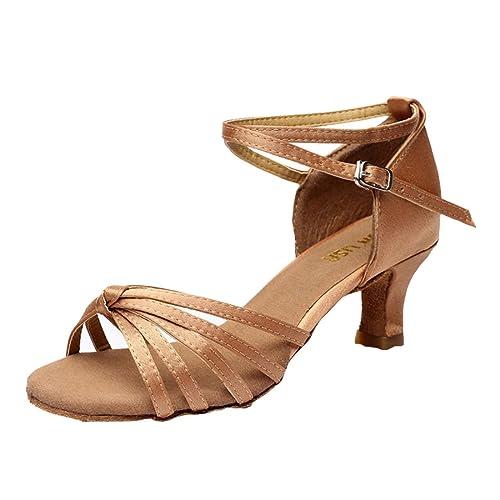 a49607b7794524 DorkasDE Damen Mädchen Tanzschuhe Latein Tanzschuhe Ballsaal Latein Tanz  Schuhe mit 5 7cm Absatz