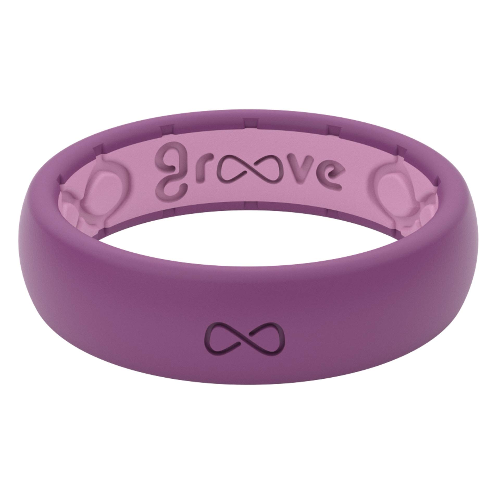Groove Life - Silicone Ring for Men and for Women Wedding or Engagement Functional Rubber Band with, Breathable Grooves, Comfort Fit, and Durability - Thin Solid Lilac Size 4
