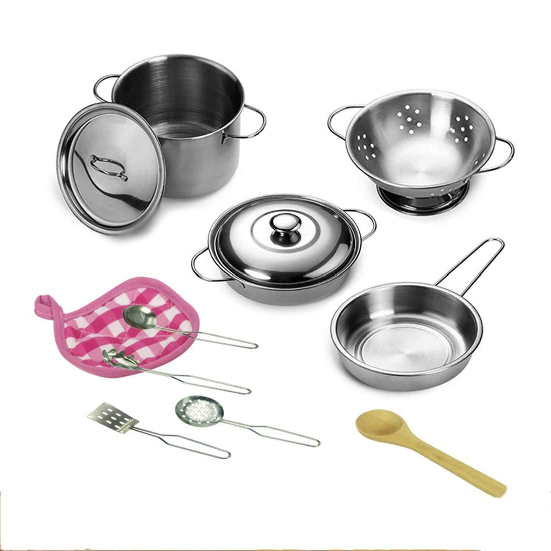 YVSoo 12 Piezas Utensilios Cocina Juguetes, Accesorios Cocina Juguetes, Cacharritos Cocina Juguetes Set Juego de Imitación para Niños