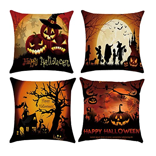 MOCOFO Set Of 4 Pumpkin Wizard Theme Happy Halloween Decorative Square Soft Linen Throw Pillow Case Cushion Covers18x18Inch (Mid Century Modern Halloween Decorations)