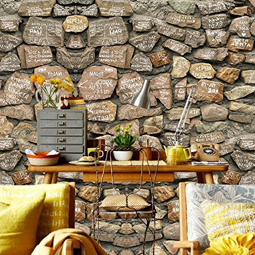 ZLJTYN 370cmX245cm 3D Stone Wallpaper Modern PVC Imitation Stone Waterproof Wallpaper Home Wall Decor Brick Wallpaper Custom by ZLJTYN