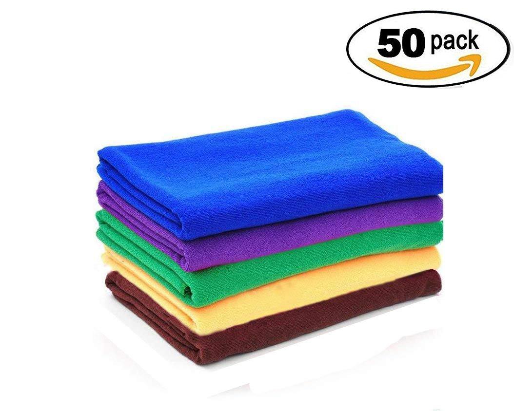 tTpn Best複数色リントフリーマイクロファイバークリーニングクロス。Dish Cloths &ディッシュタオル。パックの50 B077C95RN9