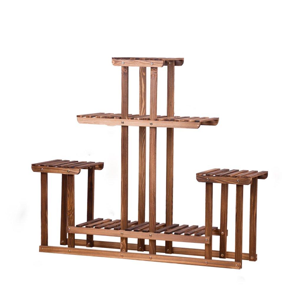 CJH Carbonized Wohnzimmer Balkon Green Regal Multi-Layer-Boden Racks DREI-Stufen-Massivholz Mehrzweck-Holz Blumenregal