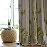 Melodieux Wheat Embroidery Linen Finishing Window Blackout Noise-Free Grommet Top Curtains for Livingroom 100 by 84 Inch Beige/Green 1 Panel For Sale