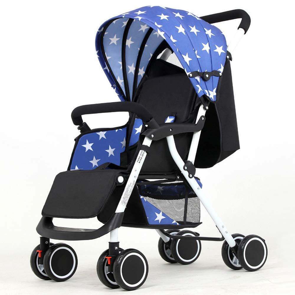 ベビーカー、全地形軽量フィットネスランニングベビーカー、4輪ミュートデザイン、衝撃吸収付き、036ヶ月の赤ちゃんに最適  Blue star B07MT8ZR9K