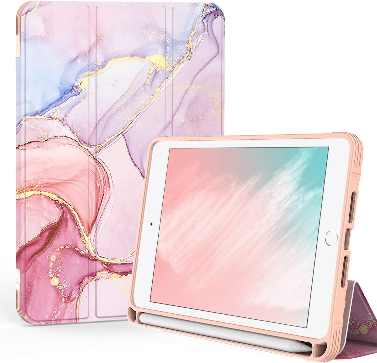 PIXIU Folio Case for iPad Mini 5th /4th Generation with Pencil Holder,Heavy Duty Trifold Stand PU Lleather Smart Cover with Auto Wake/Sleep Feature for iPad Mini 4/5 7.9 inch Purple Marble