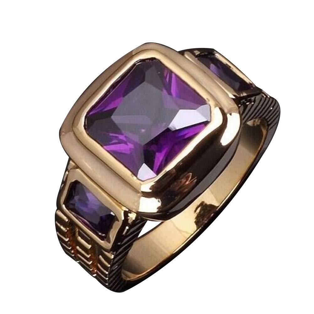 Himpokejg Men's Fashion Square Shape Faux Gemstone Wedding Birthday Band Jewelry Ring - Black US 10 by Himpokejg (Image #9)