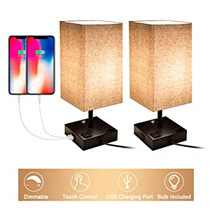 Touch Control Dimmable Table Lamp with 2 USB Charging Ports and 2 AC Outlets, Set of 2, Bedside Nightstand Lamp with Flaxen Fabric Shade Ideal for Bedroom Living Room Office, E26 LED Bulb Included