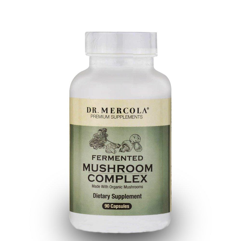 Dr. Mercola Fermented Mushroom Complex - 90 Capsules - Immune System Antioxidant Boost! - 7 Mycelium Species Including Cordyceps, Reishi, Shiitake, Maitake, Turkey Tail - Made from Organic Mushrooms