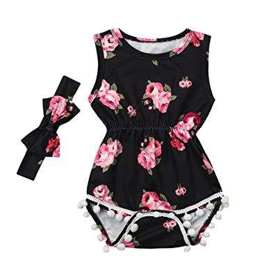 2Pcs Baby Girls Romper Tassel Floral Print Jumpsuit Romper Summer Jumper Bodysuit with Headband Clothes