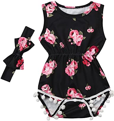Infant Baby Girls Outfits Jumpsuits Floral Romper Headband 2PCS Clothes Set 0-3Y