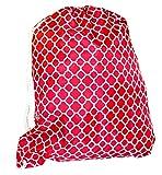 Ever Moda Quatrefoil Pull String Backpack (Red)