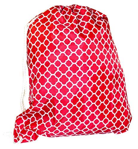 Ever Moda Quatrefoil Pull String Backpack (Red) by Ever Moda