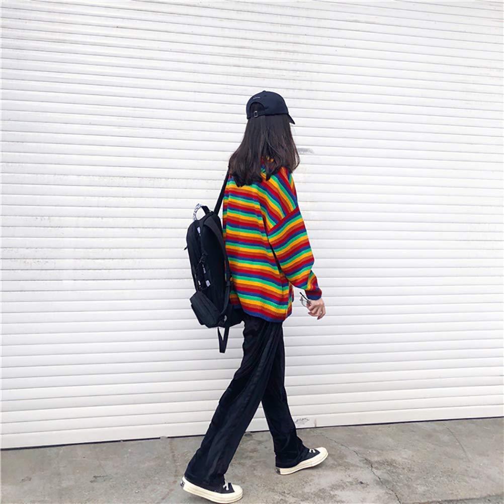 MIARORN Maglione Allentato Pullover Lavorato Lunghe Colorate Arcobaleno delle Donne Modello Affascinante