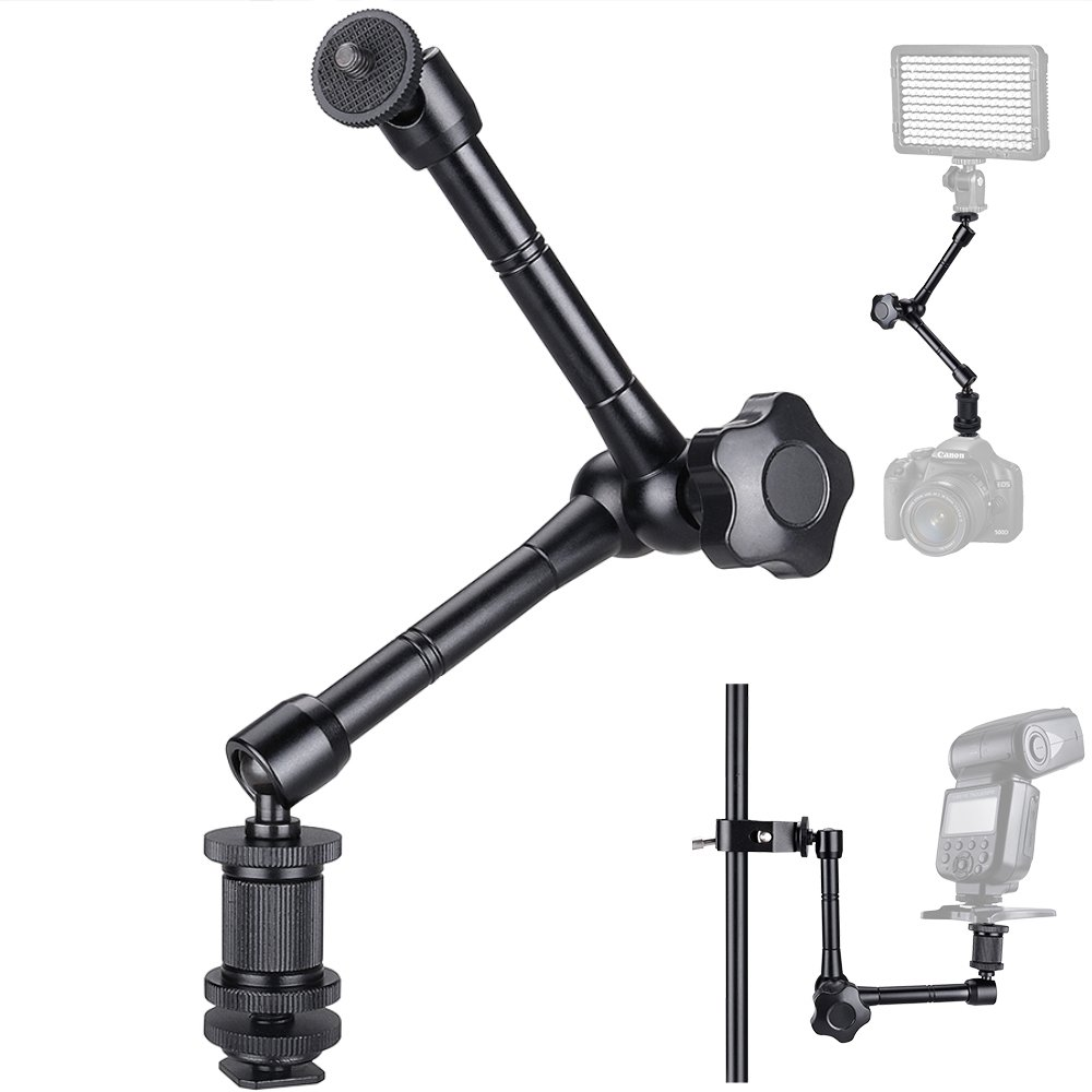 11'' Magic Arm Articulating Friction Arm with Hot Shoe Mount Adapter for DSLR Camera Rig, LCD Monitor, DV Monitor, LED Lights, Flash Lights, Microphones, DJI Osmo,Smart Phone and More