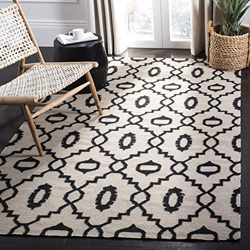 Safavieh Dhurries Collection DHU205A Hand Woven Ivory and Black Premium Wool Area Rug 4 x 6