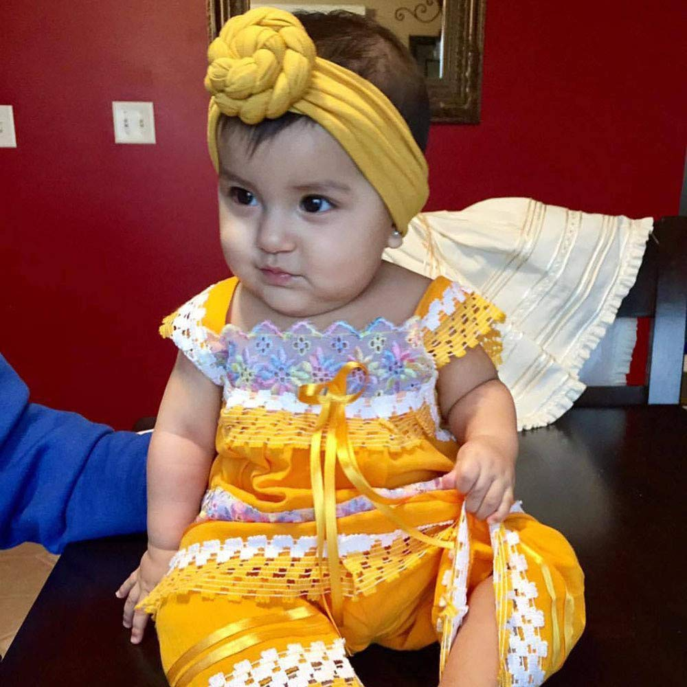 NUWFOR Cute Kids Girls Baby Toddler Turban Knot Headband Hair Band Accessories Headwear Yellow by NUWFOR (Image #1)