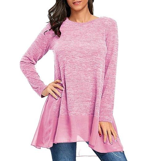 PANY Camisas Mujer 2018 Blusas para Mujer Gasa Labor de Retazos Blusa Superior con Cuello en O Camisetas Mujer Moda Manga Larga Camiseta Casual Gasa Labor ...