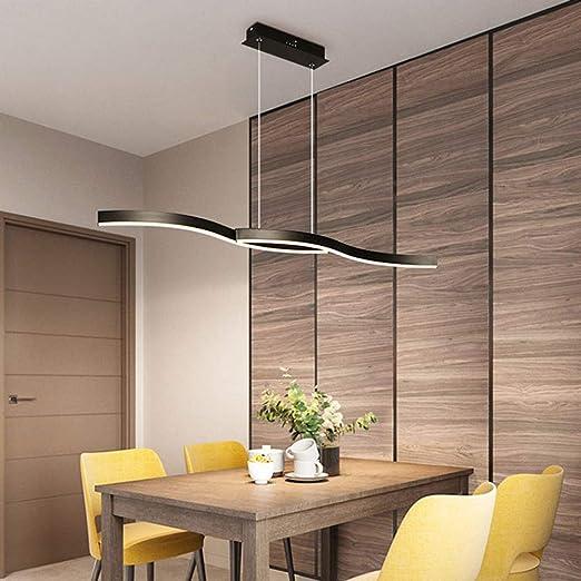 FCX-LIGHT Lámpara Colgante LED Minimalista Moderna, Mesa de Comedor de Cocina Cafe Lámpara Colgante LED Creativa Lámpara de Comedor LED Regulable Lámpara Colgante,Negro,120CM: Amazon.es: Hogar