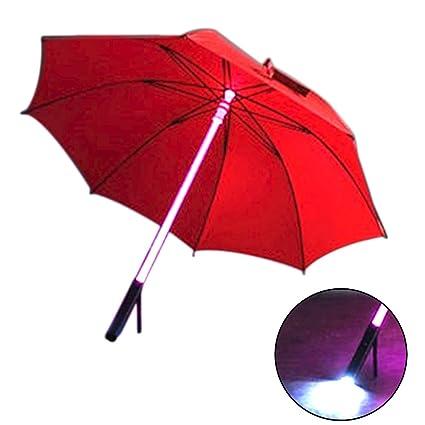 SDYDAY Paraguas LED con Linterna LED incorporada, multiflash, 7 Colores cambiantes, Espada de