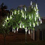 Alion Home LED Meteor Shower Waterproof Rain SMD Tubes Lights for Outdoor, Garden, Tree Decor (50 Tubes 50 FT, Cool White)