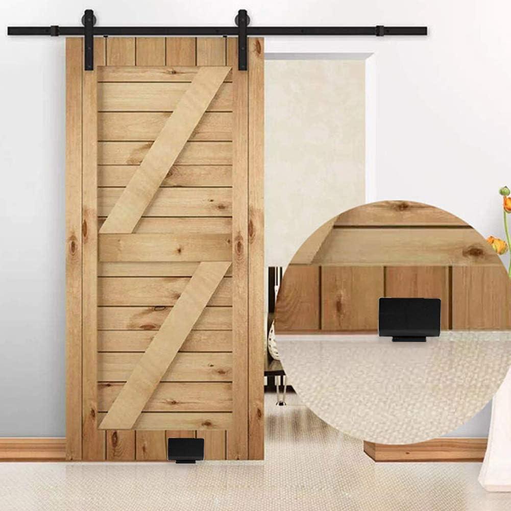 Guía del piso, guía inferior de la puerta de granero deslizante de acero al carbono negro Herrajes de pared con tornillos: Amazon.es: Bricolaje y herramientas