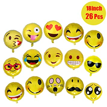 Meowoo 26 Pack Mylar Emoji Balloons Set Reusable Funny Faces Party Supplies Decorations