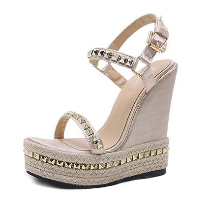 ac4c5e24a452 Women Pump 15cm Wedge Heel 5cm Thick Platform Sandals Fashion Open Toe  D orsay Slingbacks Ankel Strape Dress Shoes Rivets Hemp Rope Belt Buckle  Court Shoes ...